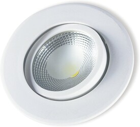 SPOT LED EMBUTIR COB PP 5W 3000K REDONDO BRANCO 148160030 - STARTEC